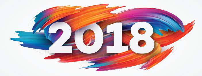 2018 with a painted background.